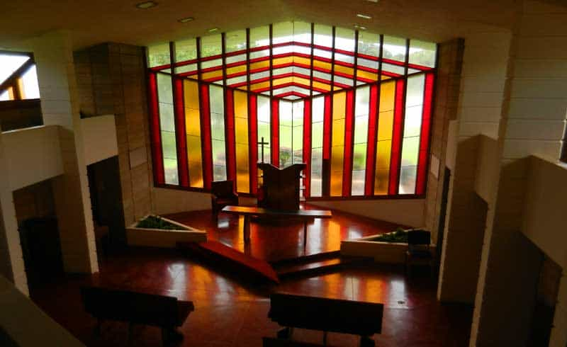 The Danforth Chapel was designed by Frank Lloyd Wright, one of 12 Wright buildings on the campus of Florida Southern College in Lakeland.