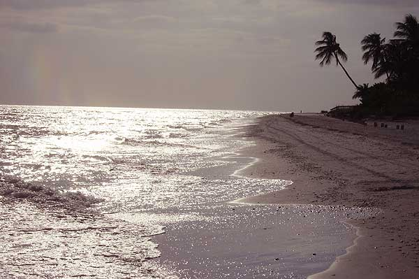 Biking Sanibel Island: Late afternoon lighting on the beach.