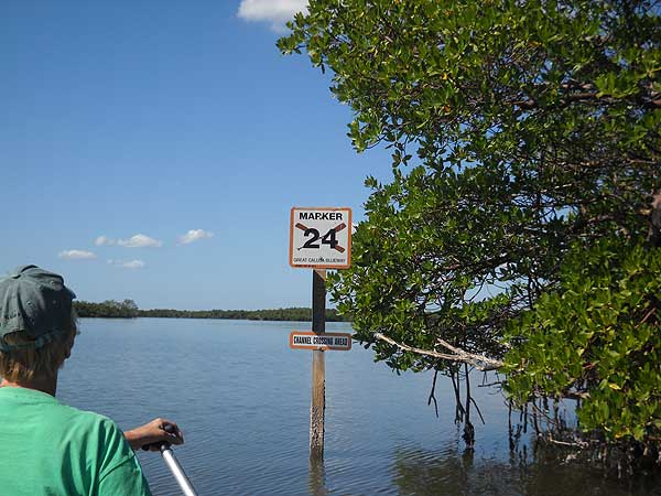 Calusa Blueway marker along one of the best Southwest Florida kayak trails