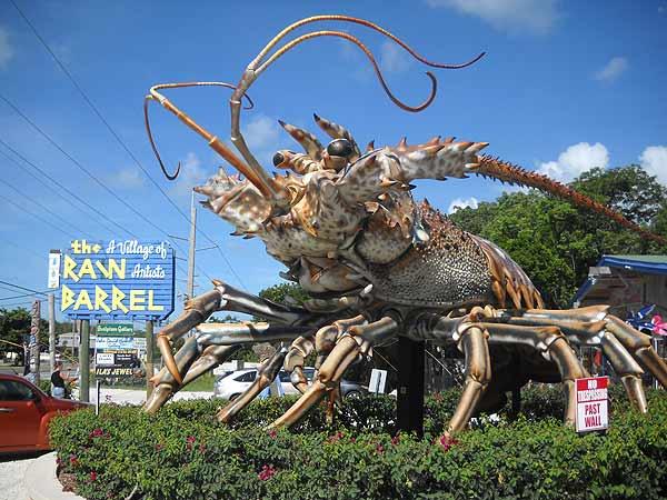 Giant lobster marks the entrance to Rain Barrel Village in the Florida Keys