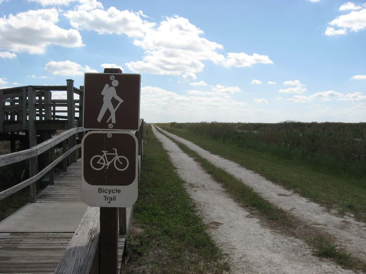 Bike trail along the levee at the Loxahatchee National Wildlife Refuge