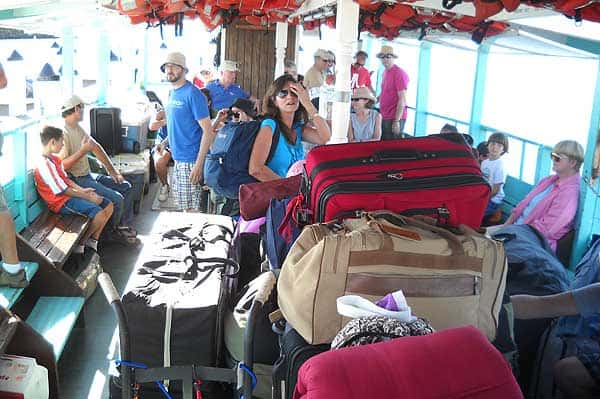 Gear is piled high on the Tropic Star ferry to Cayo Costa State Park. (Photo: Bonnie Gross)