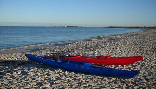 Kayaks on the beach at Cayo Costa