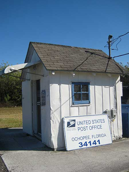 Exterior of the Ochopee, Florida, post office, smallest in the US