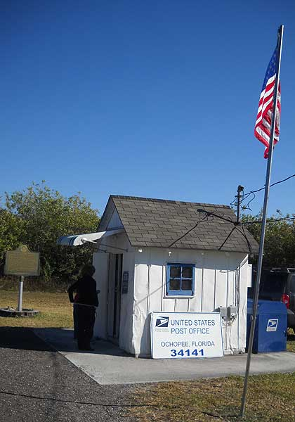 Exterior of the Ochopee post office, smallest post office in the US