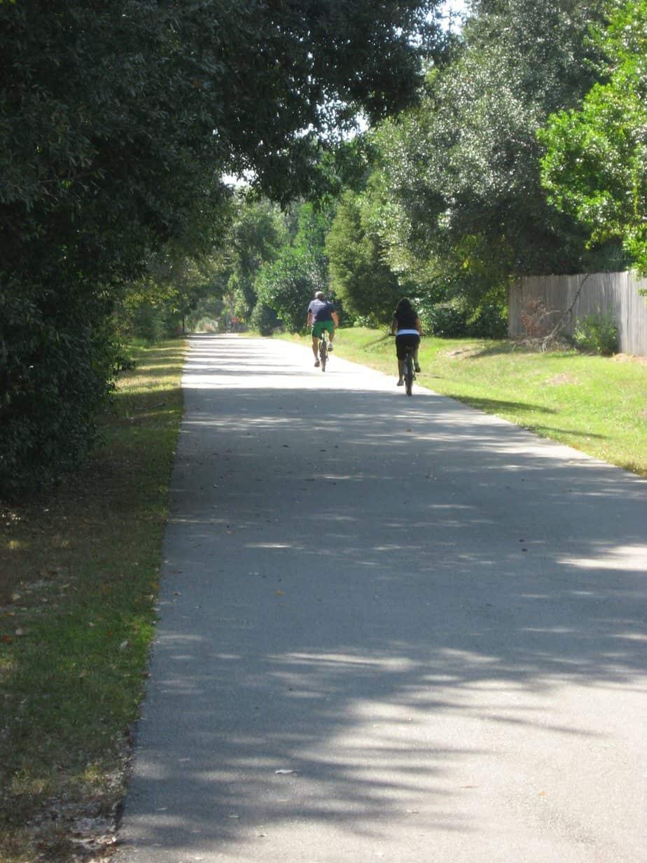 Couple enjoys weekday ride on the deserted Seminole Wekiva Trail