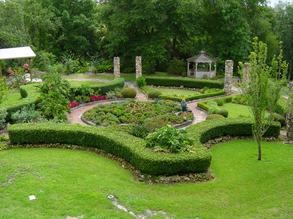 Looking down at the formal gardens in Ravine Gardens State Park.