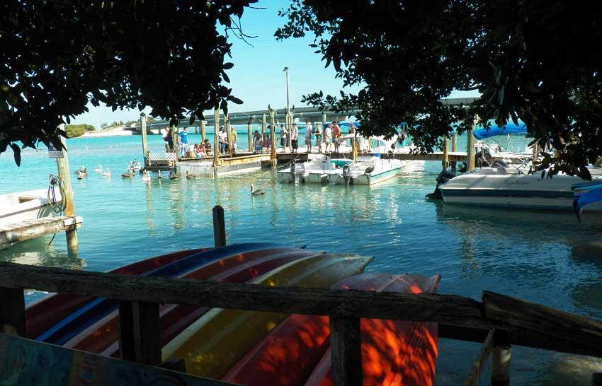 The dock at Robbie's Marina in the Florida Keys, where visitors gather to feed the tarpon. (Photo: Bonnie Gross)