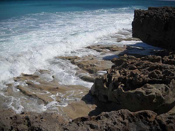 Craggy rocks at Blowing Rocks Preserve, Jupiter, Florida, beach