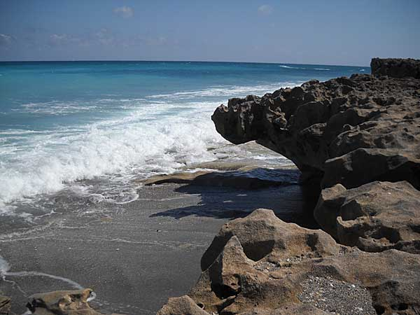 Waves and rocks at Blowing Rocks, Jupiter, Florida, beach