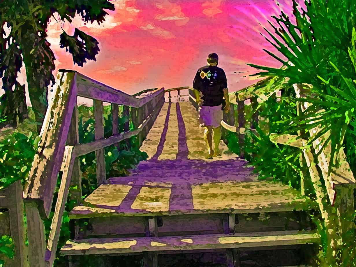 Florida Rambler writer Bob Rountree on the boardwalk at Boca Grande