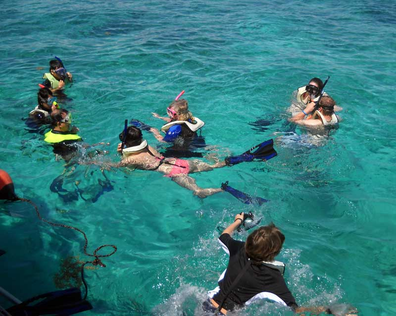 Snorkelers at Biscayne National Park begin exploring the Mandalay wreck. (Photo: David Blasco)