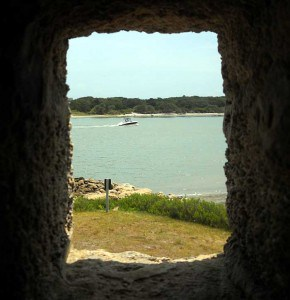 View through a stone window at Fort Matanzas near St. Augustine