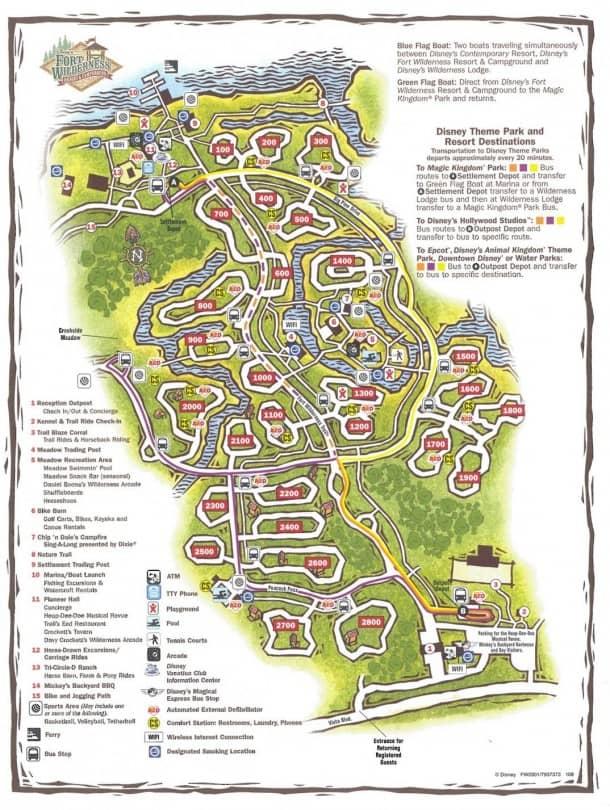 Fort Wilderness Campground map
