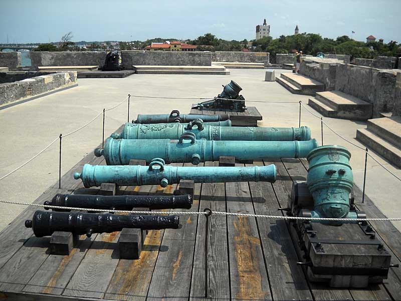 St. Augustine fort cannons. Castillo de San Marcos