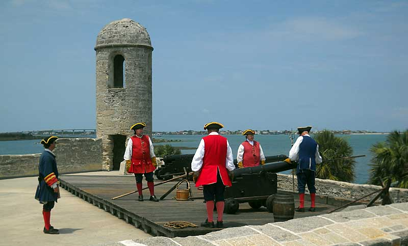 Preparing to fire the cannons at the St. Augustine fort, the Castillo de San Marcos. (Photos: Bonnie Gross)