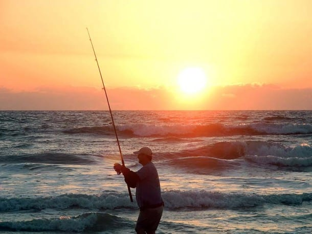 Fishing from shore in New Smyrna Beach