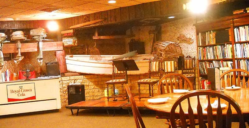Interior of the Yearling restaurant is full of vintage items and antiques.