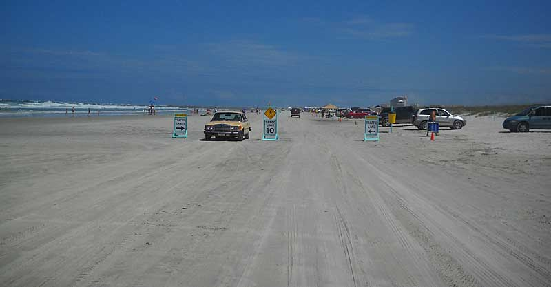 Driving on the beach in Daytona Beach near Ponce de Leon Inlet