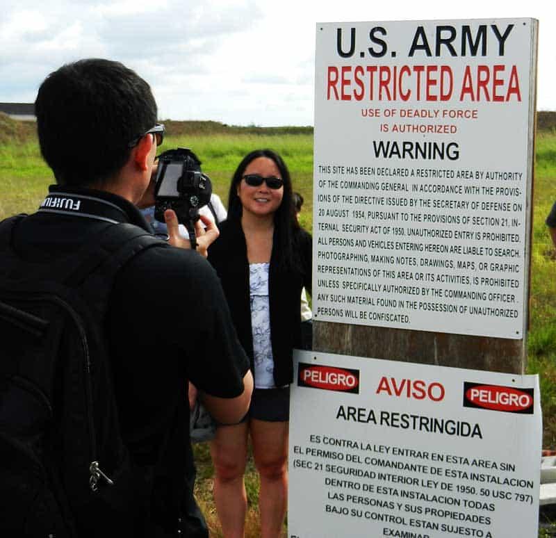 Warning sign at Nike missile base Everglades National Park
