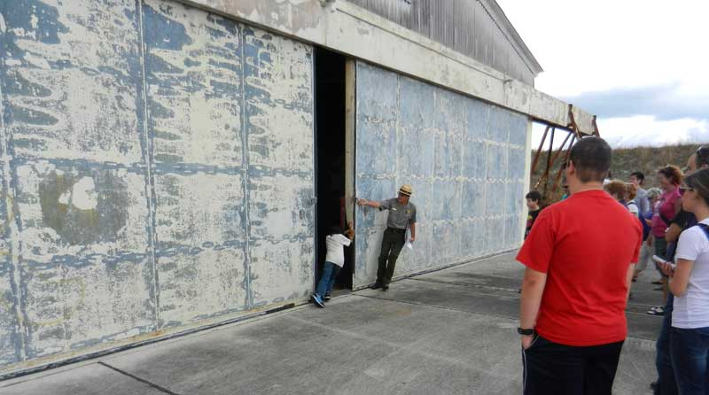 Opening doors to Nike missile assembly building