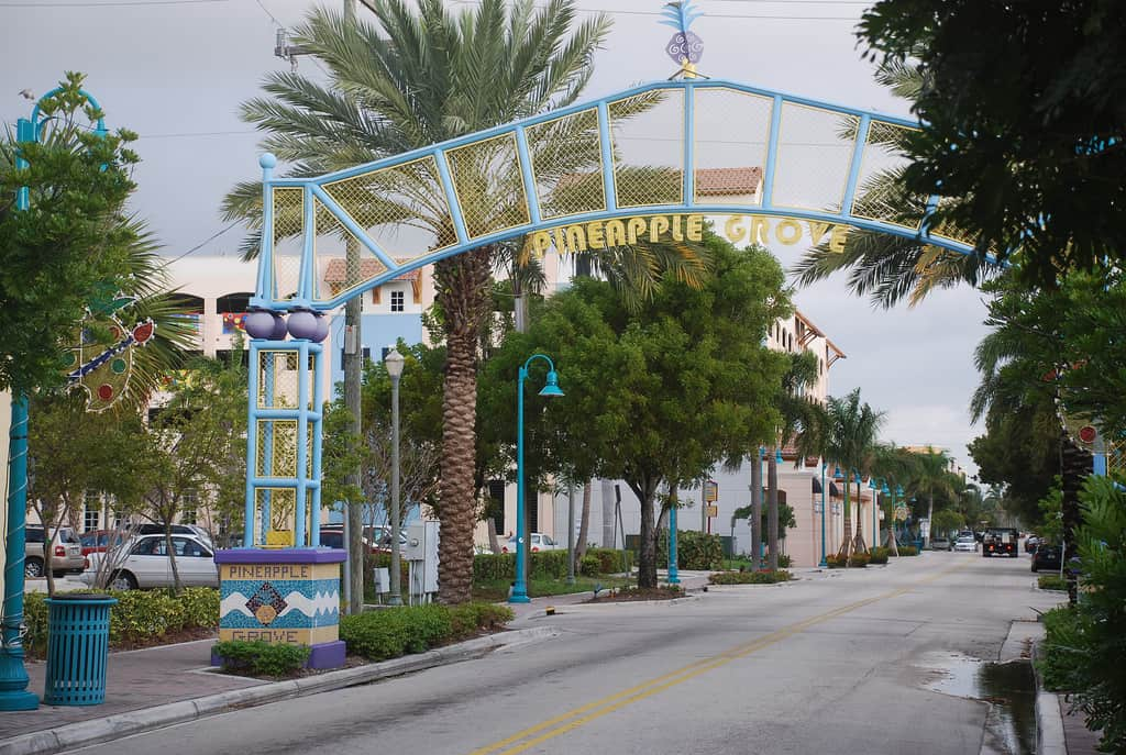 Things to do in Delray Beach: Pineapple Grove entrance in Delray Beach< (Photo by Adam Fagan)