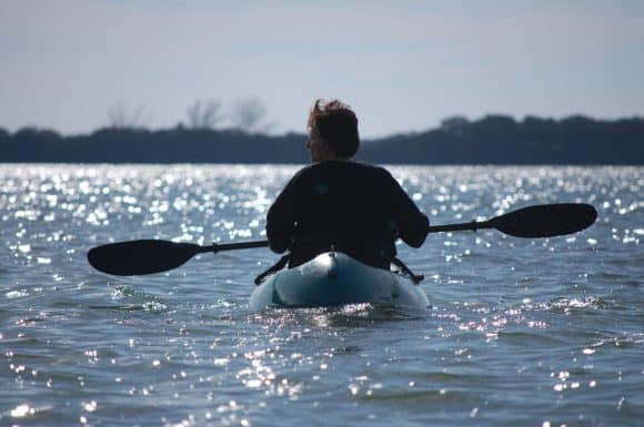 Best Florida camping: Paddling away from campsite at Fort DeSoto.