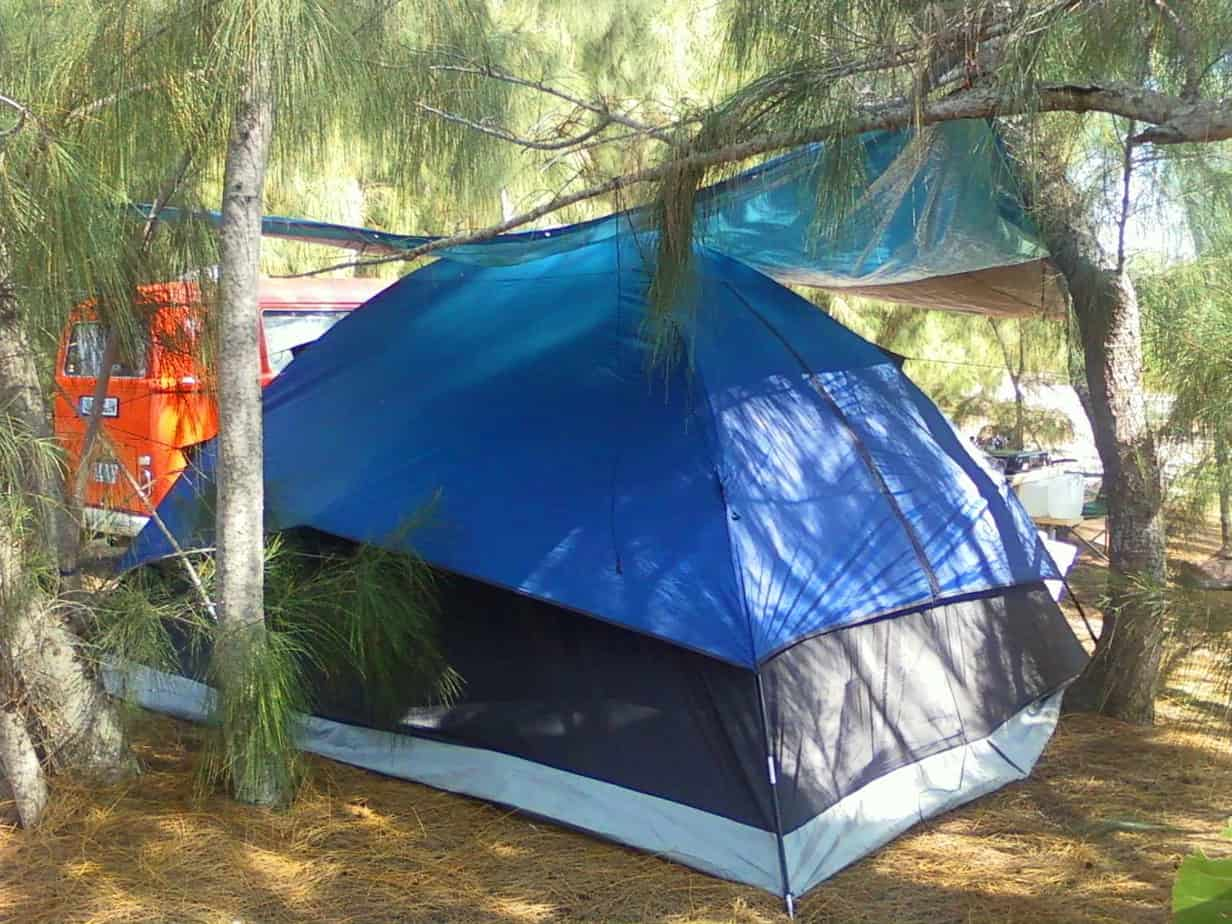 Tent site at Sigsbee RV Park at the Naval Air Station