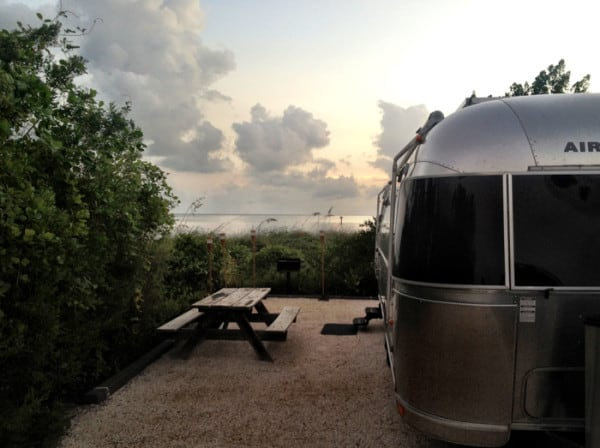 Oceanfront campsite at Curry Hammock State Park near Marathon in the Florida Keys