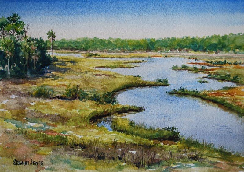 Spruce Creek watercolor by Stewart Jones