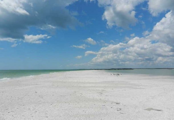 Nothing but sand, sea and clouds at Tigertail Beach on Marco Island. If you walk on this sandspit, you will be exploirng one of the most beautiful secluded beaches in Florida. (Photo: Bonnie Gross)