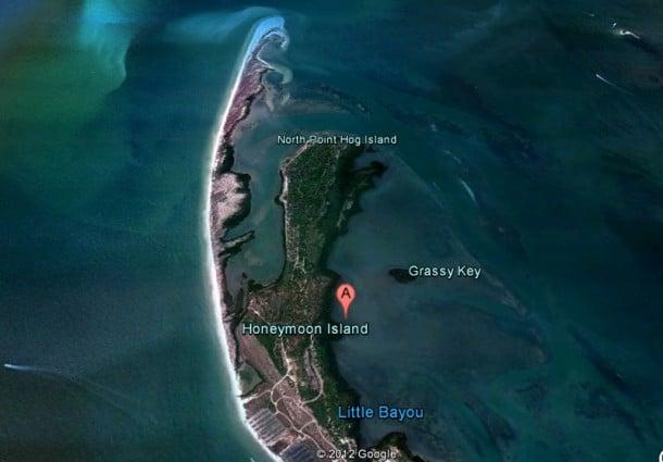 Northern end of Honeymoon Island from Google Earth