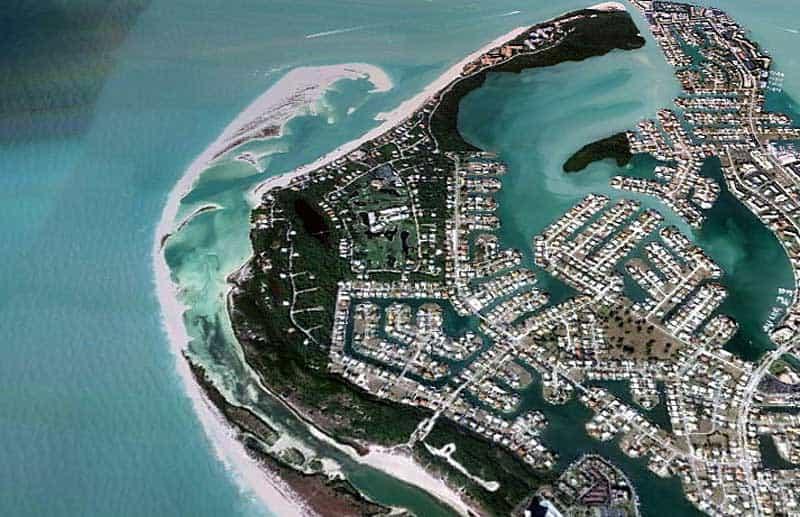 Tigertail Beach on Marco Island aerial