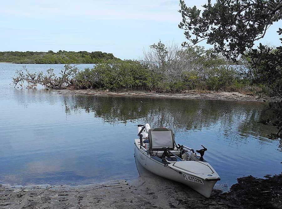 Fishing kayak at Merritt Island National Wildlife Refuge