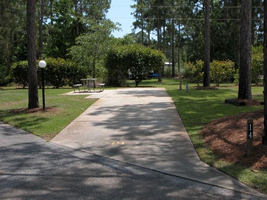 RV site at Florida's Topsail Hill State State Park
