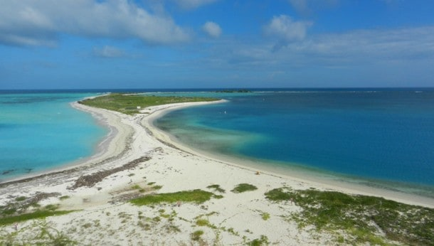 Bush Key at Dry Tortugas National Park. It's the site of a tern rookery and thus closed to visitors during nesting season. This is the view from atop Fort Jefferson. (Photo: Bonnie Gross)