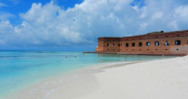Beach at Dry Tortugas National Park: Campsites are steps away. Terrific snorkeling is right off this beach along the walls of the fort. (Photo: Bonnie Gross)