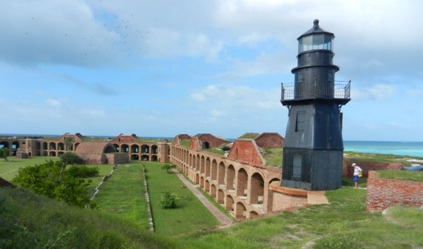 Camping at Dry Tortugas National Park: The harbor light was built in 1876. At night, it casts the only light visible from the campground. (Photo: Bonnie Gross)