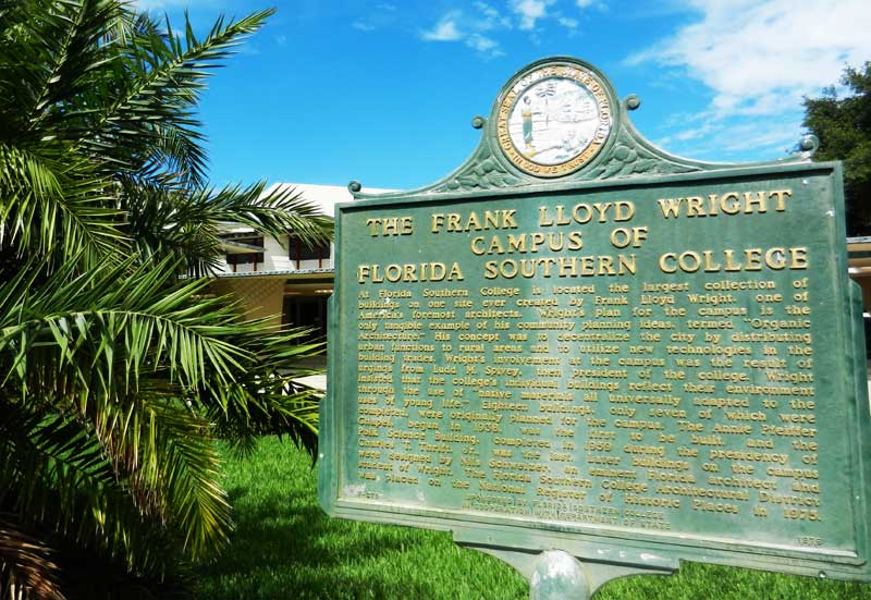 Historic marker Frank Lloyd Wright Florida Southern College campus
