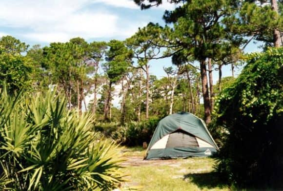 Best Florida camping: A tent at Jonathan Dickenson State Park.