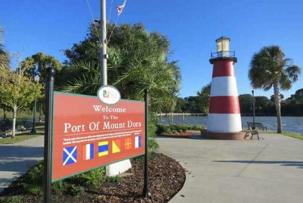The lighthouse along the lake in historic Mount Dora, near Orlando.