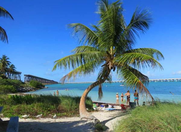 Calusa Beach has the historic bridge as a backdrop at Bahia Honda State Park in the Florida Keys.