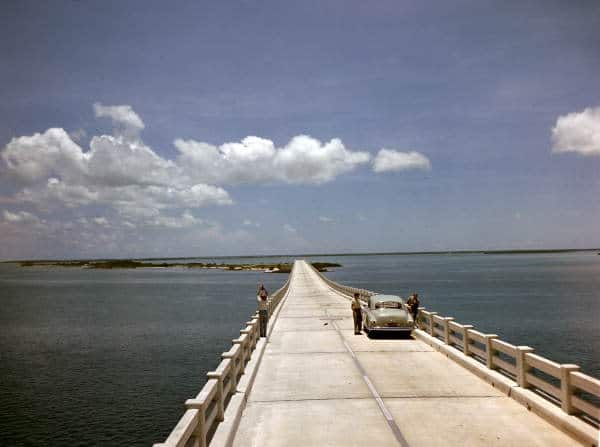 In 1955 or '56, you drove on the top deck of the Bahia Honda Bridge and apparently there was no traffic! Photo by Joseph Janney Steinmetz via Florida Memory Project.