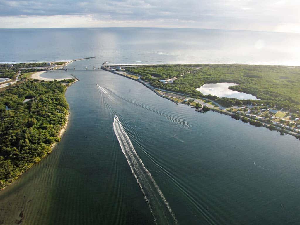aerial of the sebastian inlet