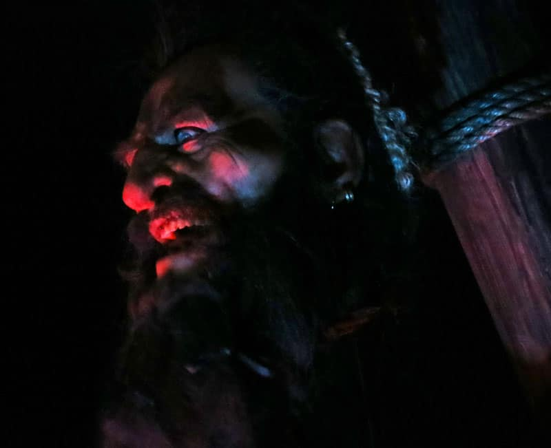 An animatronic version of Blackbeard's severed head at the St. Augustine Pirate and Treasure Museum.