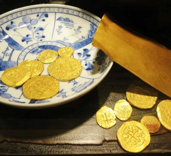 Gold coins at the St. Augustine Pirate Museum.