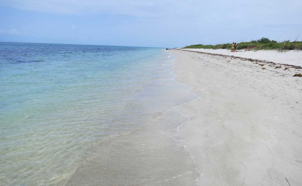 At the northern end, there are few people at the beautiful beach at Bill Baggs Cape Florida State Park on Key Biscayne.