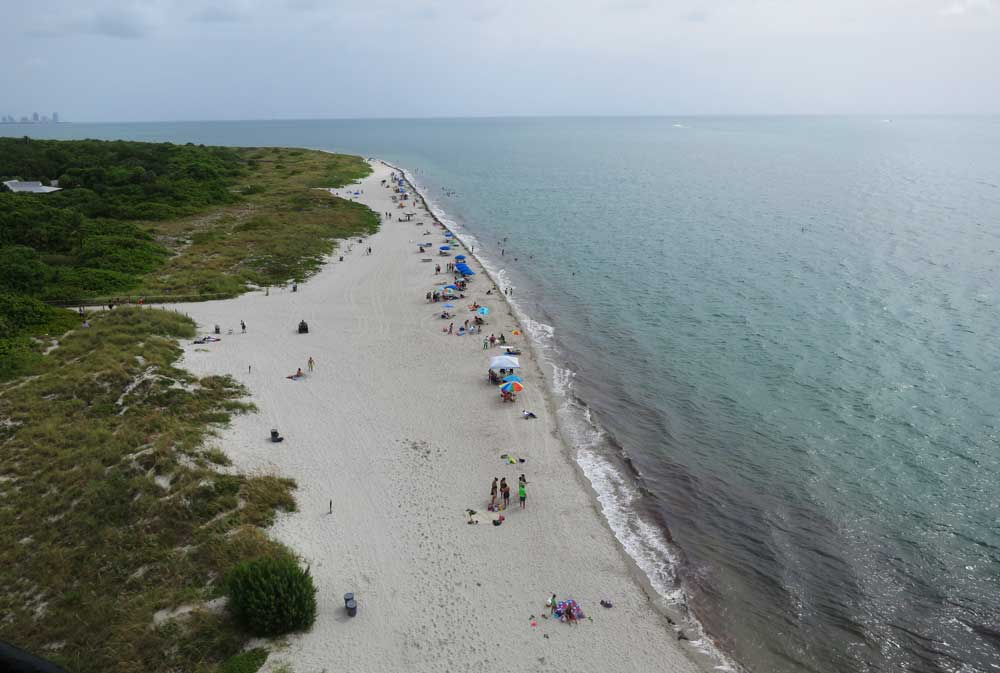 The view from the Cape Florida lighthouse at Bill Baggs Cape Florida State Park on Key Biscayne.