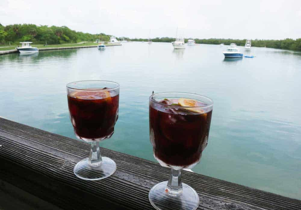 Sangria at Boater's Grill at Bill Baggs Cape Florida State Park on Key Biscayne.