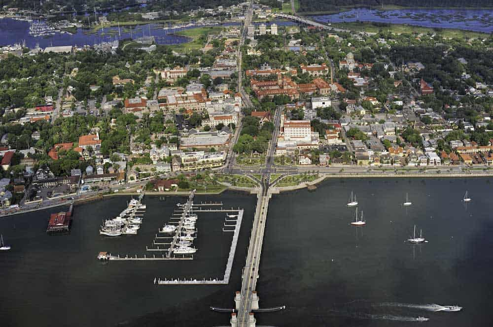 Things to do in St. Augustine: Aerial view of central district of St. Augustine. (Courtesy FloridaHistoricCoast.com)